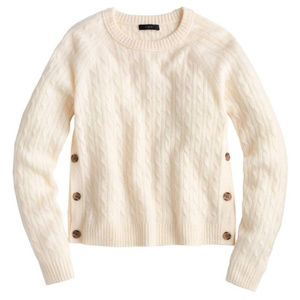 J Crew Wool Blend Cable Knit Sweater Cream Medium